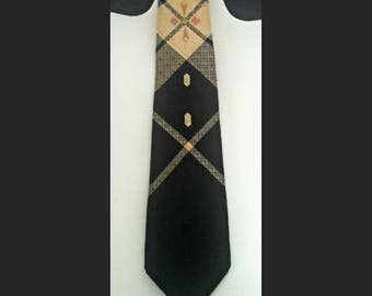 Vintage Skinny Tie, Gold and Black Plaid Necktie by Americana, Hand Made, Mid Century Narrow Tie, Circa 1950s