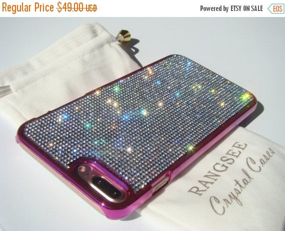 Sale iPhone 7 Plus Case Clear Diamond Rhinestone Crystals on Pink Chrome Case. Velvet Pouch Included, Genuine Rangsee Crystal Cases