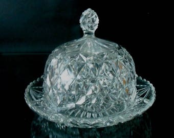 Vintage Domed Butterdish - Moulded glass butterdish with lid