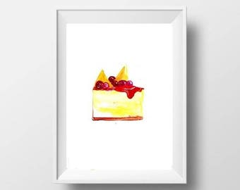 cherry cheesecake slice watercolor painting cold dessert food decor kitchen print wall art kitchen picture nursery food artposter decal