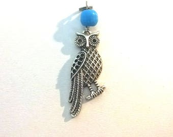 Large blue bead and silver metal OWL pendant
