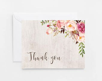 Watercolor Flower Thank You Card, Baby Shower, Bridal Shower Printable Thank You Card (457)