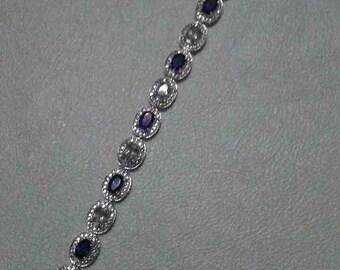 Sterling Silver Sapphire & Topaz Bracelet