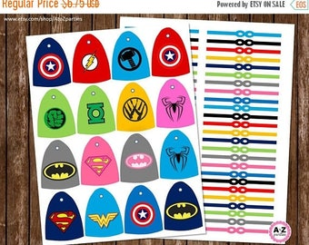60% OFF SALE Download Superhero Capes for Lollipops, Cape and Mask included, Unlimited Printing, Heros Party, Multiple Characters, DIY, Prin