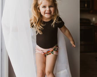 Pink Floral Shorties - Bummies - Baby shorts - Toddler shorts - Baby girl shorts - Baby boy shorts - Baby bloomers - Baby clothes