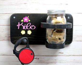 Dog leash rack, refillable treat jar, FREE PERSONALIZATION