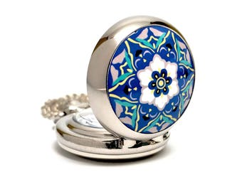Blue and White Floral Vintage Style Mini Pocket Watch