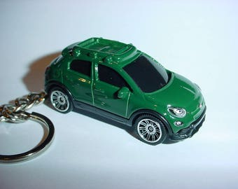 3D Fiat 500 custom keychain keyring key chain by Thornton Gifts finished in deep GREEN color trim 2016