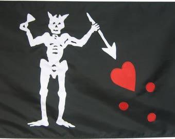 Pirate Blackbeard (Various Sizes): Handsewn Pirate Flag