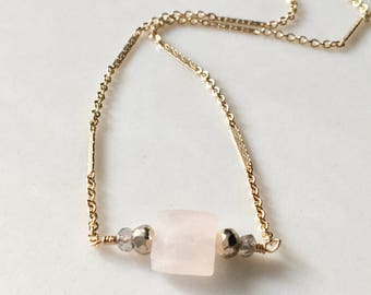 Rose in Gold // Rose Quartz Choker Necklace in Gold