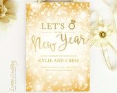 New Year's Eve wedding save the date cards | Gold and sparkle confetti save the dates