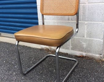Breuer Style Chrome and Cane Modern Side Chair