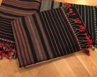 black and red tussar cotton bhujodis with red tassels
