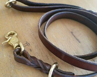 3-Point Leather Leash--4.5 ft, Dark Brown