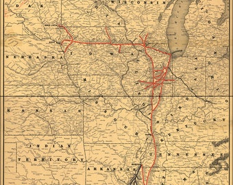 Poster, Many Sizes Available; 1892 Map Of The Illinois Central Railroad