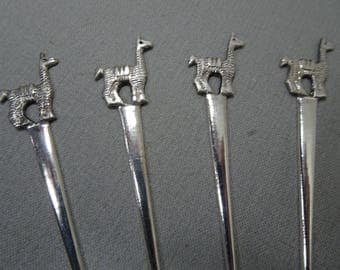 One Dozen Sterling Silver Canape Forks made in Peru