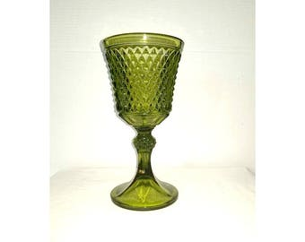 Vintage Green Glass Compote,INDIANA GLASS,Green Diamond Point Compote,Green Glass,Vintage Glass,Diamond Point,Vintage Green Glass,1960s