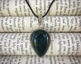 Natural Bloodstone Pendant on Black Leather and Sterling Silver Cord Necklace