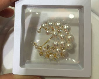 Flower Brooch,Freshwater Pearl Brooch,Brooch Pin, Pearl Brooch,Christmas gift,Rhinestone Brooch,pearl jewelry.bridal brooch