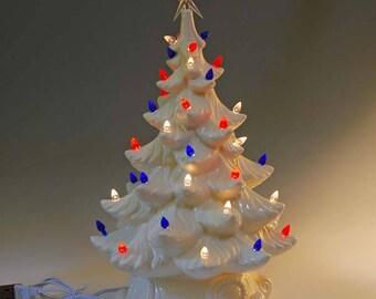 New Large Lighted Ceramic Christmas Tree, Patriotic lights, Glazed White