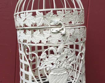 Domed Bird Cage in Gloss Ivory/chic bird cage/wedding cards/bridal gift/bird cage card holder/bee hive bird cage/wedding gift