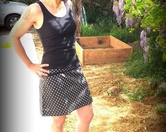 """Black """"Kiny"""" retro dress with white polka dots"""