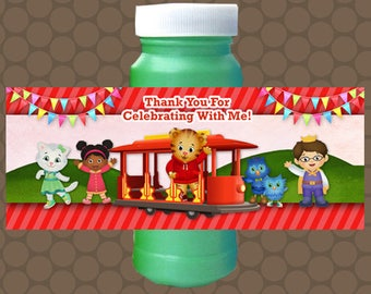 Daniel the Tiger Birthday Bubble Labels Wrappers Stickers Printable Uprint Digital DIY Instant Download