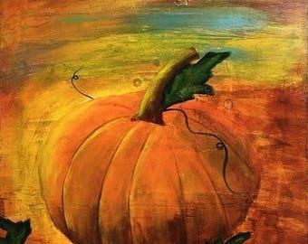Pumpkin Original Acrylic Canvas Painting 12x12