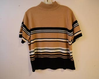 Cozy Striped Mock Turtleneck Sweater | VINTAGE size XL