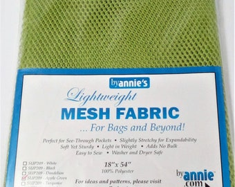 Lightweight Mesh Fabric.'By Annie' Apple Green.Luggage, Laundry Mesh