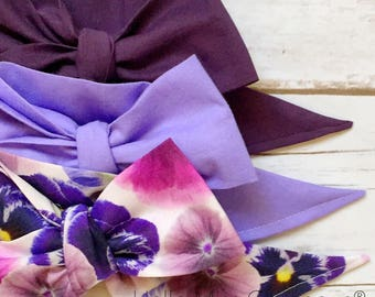 Gorgeous Wrap Trio (3 Gorgeous Wraps)- Royal Purple, Lilac & Parisian Plum Floral Gorgeous Wraps; headwraps; fabric head wraps; bows