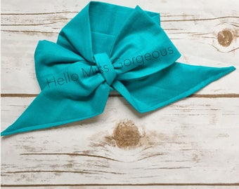OCEAN Gorgeous Wrap- headwrap; fabric head wrap; head wrap; boho; newborn headband; baby headband; toddler headband; bow