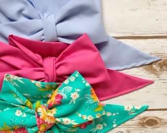 Gorgeous Wrap Trio (3 Gorgeous Wraps)-Periwinkle, Pink Taffy & Vintage Turquoise Floral Gorgeous Wraps; headwraps; fabric head wraps