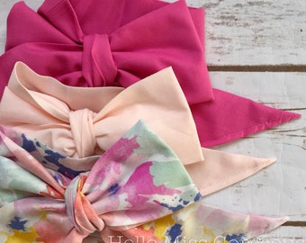 Gorgeous Wrap Trio (3 Gorgeous Wraps)- Pink Taffy, Light Pink & Dreamy Floral Gorgeous Wraps; headwraps; fabric head wraps; bows