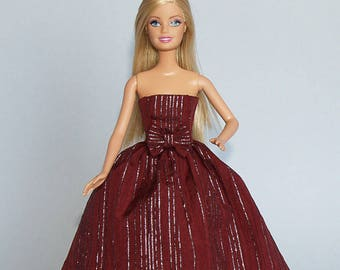 Barbie clothes -  shimmering ball gown - handmade