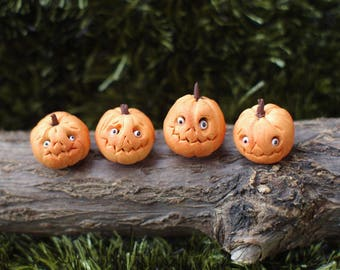 4 piece. Halloween. Miniature pumpkin. Dollhouse witches . Pumpkin Eye for witch house. scale 1/12