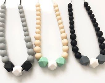 Teething Necklace for Mom - Breastfeeding Teether - Nursing Necklace - Teething Jewelry - Hexagon Chewlery - Modern Teethers - Chewing Beads
