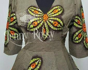 African clothing, African top,African peplum blouse,Ankara Top,African print peplum Top