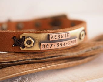 Small Dog Collar, Cat Collar, Leather Cat Collar, Leather Dog Collar, Personalized Collar, Dog Name Plate, Cat Name Plate, Pet Id Tag,