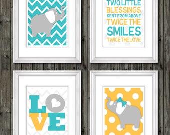 Twin nursery wall art boy/girl, twin nursery decor, boy/girl nursery wall art, twin nursery decor, twin nursery decor boy/girl, twin decor