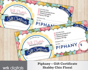 Piphany Gift Certificate, Shabby Chic Floral Design, Fashion Stylist, Direct Sales, PRINTABLE