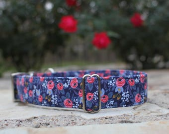 Floral Dog Collar, Female Dog Collar, Large Dog Collar, Small Dog Collar, Fabric Dog Collar, Metal Buckle, Gift for Dog Lovers, Pet Collar