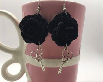 Black Rose Earrings, Scissor Earrings, Stylist Earrings, Cosmetologist Earrings, Hairdresser Earrings, Valentine's Day Gift, Galentine's Day