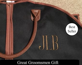 Personalized Men's Garment Bag - Monogrammed Hanging Bag - Personalized Garment Bag - Groomsmen Gift - Suit Bag