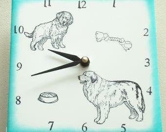 "Ceramic tile Great Pyrenees dog clock, 6"" square, green border"