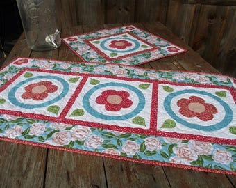 Summer Table Runner and Topper Set, Quilted Table Runner and Topper, Blue, Red and White Applique Flower Table Runner.
