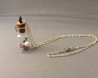 purple roses inside a tiny corked dome with faux pear and mini key, charm necklace, rose charm, Beauty and the Beast necklace