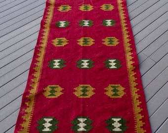 WOOL RUG of MEXICO/ Mexican Wool Runner/ Southwestern Rug/ Red Wool Rug-Runner/ Handwoven Ethnic Rug/ Geometric Design Vintage Wool Rug