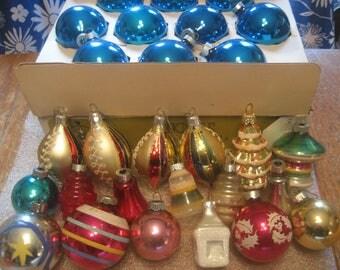Vintage Lot 28 Glass Christmas Ornaments - Shiny Brite, Noelle Plus More