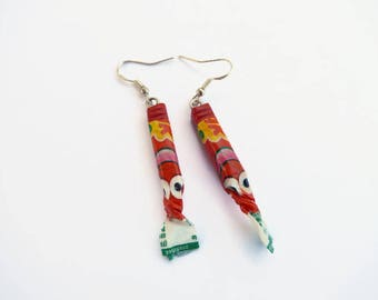 Caramba earrings * Strawberry silver frame